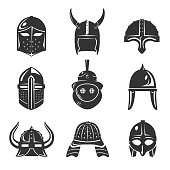 Warrior helmet set. Comfort and protection battle fit, knight armor element. Vector flat style cartoon illustration, isolated on white background