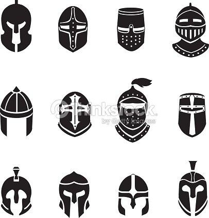 Warrior Helmets Black Icons Or Logos Set Knight Armor