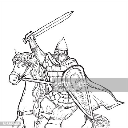 warrior with a sword in armor and helmet on horse : Vector Art