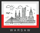 Warsaw Poland. A view of the city attractions. Illustration