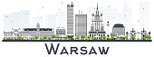 Warsaw Poland City Skyline with Gray Buildings Isolated on White Background. Vector Illustration. Business Travel and Tourism Concept with Historic Architecture. Warsaw Cityscape with Landmarks.