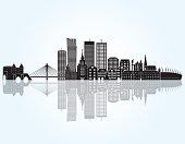 Warsaw skyline. Vector illustration