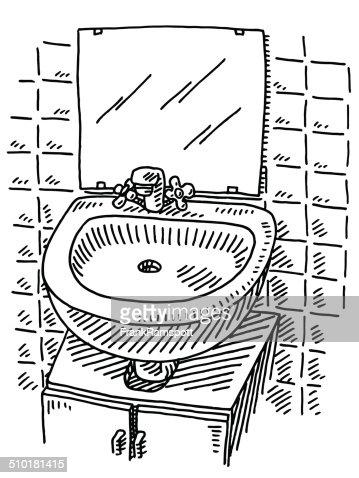 washbasin mirror bathroom drawing vector art | getty images