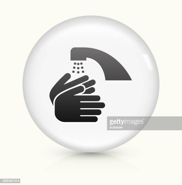 Washing Hands icon on white round vector button