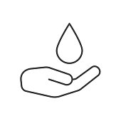 Washing hands linear icon. Human palm with falling water drop. Thin line. Vector
