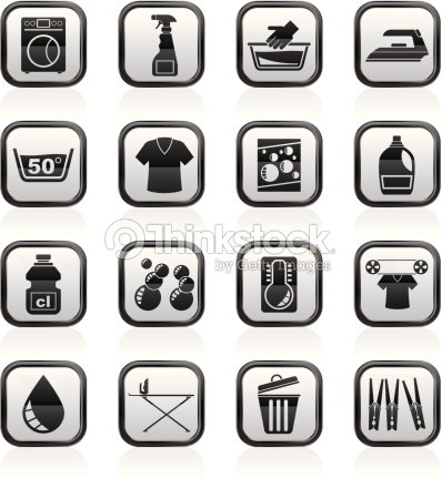 Washing Machine And Laundry Icons Stock Vector Thinkstock