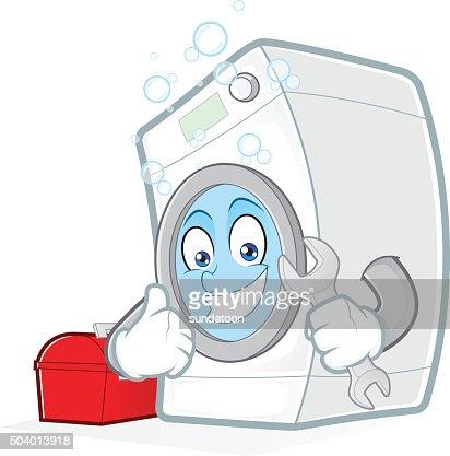 Waschmaschine clipart  Waschmaschine Hält Ein Schraubenschlüssel Mit Toolbox Vektorgrafik ...