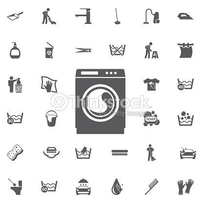 Waschmaschine Symbol Haushaltsgerätesymbol Flache Zeichen
