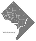 Washington DC city map with neighborhoods grey illustration silhouette shape