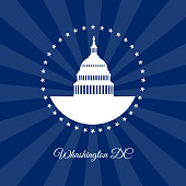 Washington DC symbol. White house and Capitol building arounded stars isolated on dark rays background. USA landmark. Vector illustration
