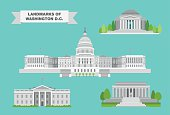 The most iconic landmarks of Washington, DC in detailed vector drawings.