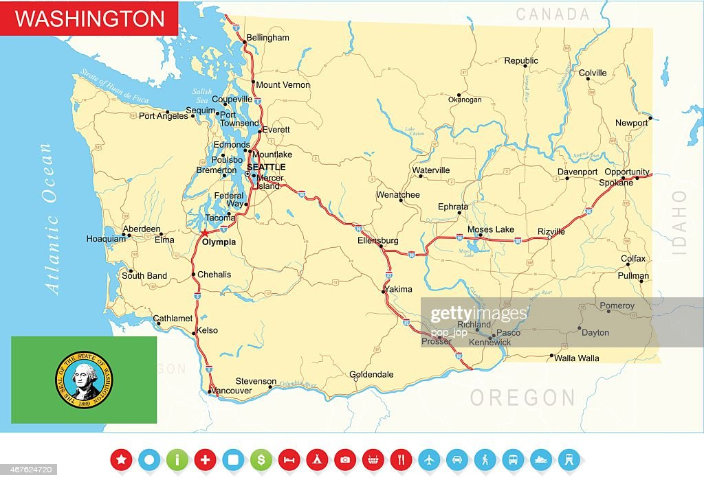 Washington State Map Usa Vector Art Getty Images - Washington on map of usa