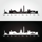 Washington USA skyline and landmarks silhouette, black and white design, vector illustration.