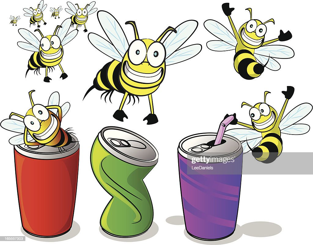 wasps bees and soda cans cartoon collection vector art getty images