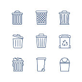 Waste Basket, Trash Can, Recycle Bin line icon vector set. eps 10