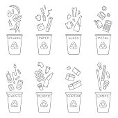 Waste sorting illustration with different types of garbage and trash cans. Linear style vector illustration