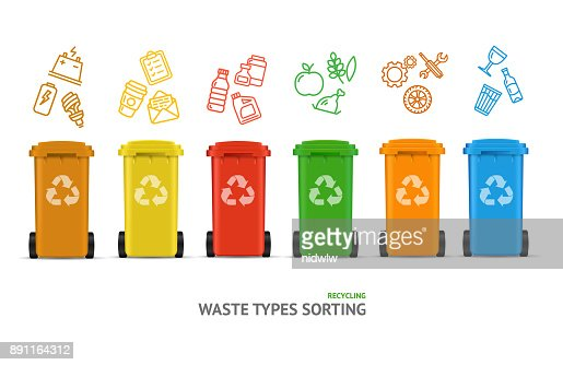 Waste Sorting Types Concept. Vector : stock vector