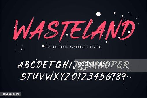 Wasteland vector brush style font, alphabet, typeface : stock vector