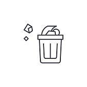 Wastepaper basket line icon, vector illustration. Wastepaper basket linear concept sign.