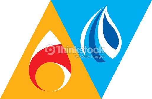 Water And Fire As Opposite Nature Elements Tao Symbol Vector Art