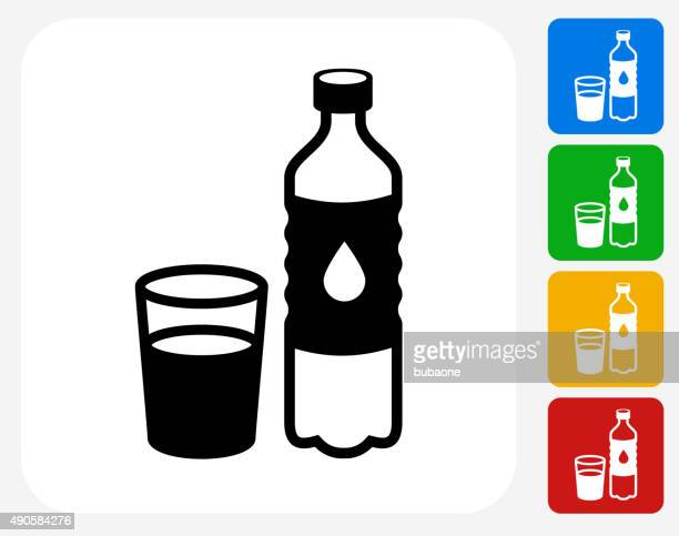 Water Bottle and Glass Icon Flat Graphic Design
