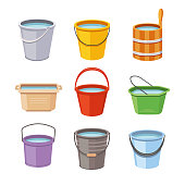 Water buckets set. Metal pail, empty and full plastic garden bucket. Trash bin container, wooden washing household bowl or can. Cartoon isolated vector illustration icons