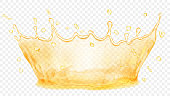 Transparent water crown. Splash of water or oil in yellow colors, isolated on transparent background. Transparency only in vector file