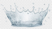 Transparent water crown. Splash of water in gray colors, isolated on transparent background. Transparency only in vector file