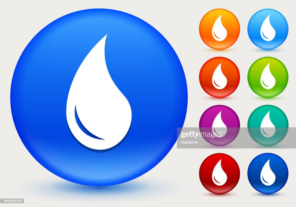 Water Drop Icon on Shiny Color Circle Buttons : Vector Art