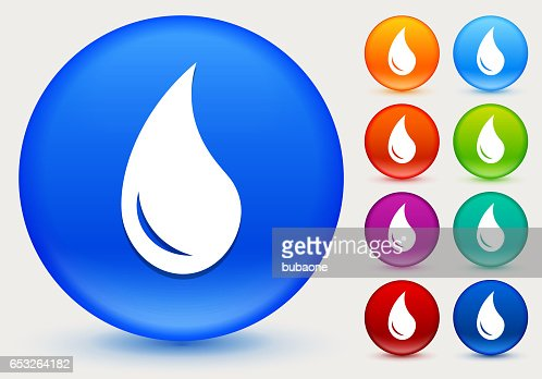 Water Drop Icon on Shiny Color Circle Buttons : Vectorkunst