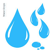 Water Drop Icon Set. Vector Raindrop Silhouette. Design Elements
