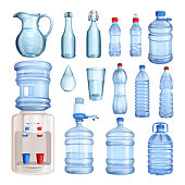 Water in plastic and glass bottles. Vector isolated objects set. Pure mineral water illustration.