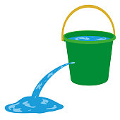 Water is poured out of a hole in a bucket. Bucket with water