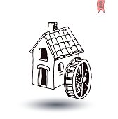 water  mill vector illustration.