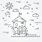 Water mill. Vector.