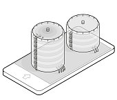 Water reservoir isometric building info graphic in mobile phone. Big water reservoir. Water supply resource. Pictogram industrial chemistry cleaner set in communication technology. Isolated vector.