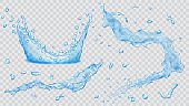 Set of transparent water splashes, water drops and crown from falling into the water in light blue colors, isolated on transparent background. Transparency only in vector file. Vector illustrations. E