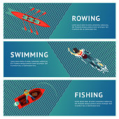 People recreation on a river. Water sport. Horizontal banners set. Flat style illustration.