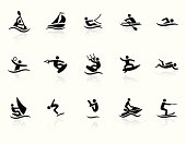 Water sports related vector icons for your design or application.