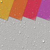 Realistic Water Transparent Drops Seamless Pattern. Colorful Paper Labels Background Examples. Vector Illustration