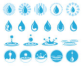 Set of water icons with nature liquid, aqua drop element. Vector illustration