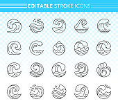Wave thin line icons set. Outline web sign kit of sea. Splash linear icon collection includes clean water, ocean beach, surf sport. Editable stroke without fill Black wave simple contour vector symbol