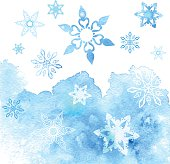 Watercolor abstract background with snowflakes. Vector illustration EPS10. File contains Ai and PDF formats.