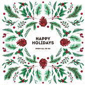 Happy Holidays and Merry Christmas. Watercolor and ink xmas card made of traditional winter plants, pine cones and branches, mistletoe and holly berry. Flat lay Yule greeting, trendy symmetrical holid