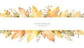 Watercolor vector banner of leaves and branches isolated on white background. Autumn illustration for greeting cards, wedding invitations, quote and decorations.