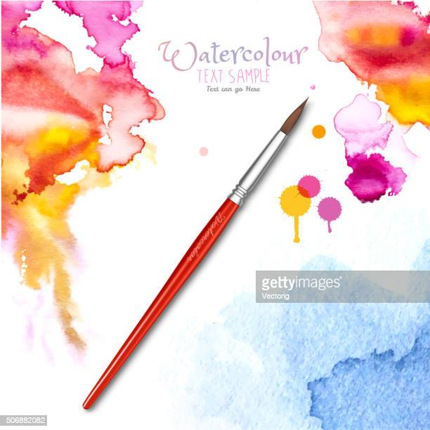 Watercolor Background and Brush
