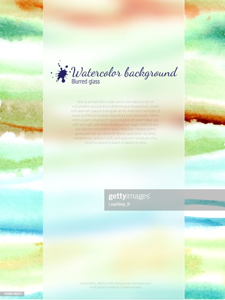 Watercolor banner with blurred glass : Vector Art