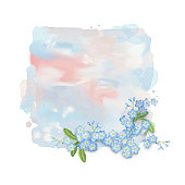 Floral vector banner. Abstract watercolor splash with flowers