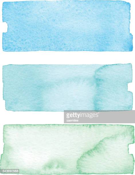 Watercolor Banners Blue And Green