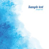 Watercolor blue angle background texture, water splash and space for text - vector artwork